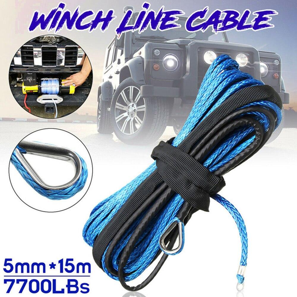 Cuerda de línea de Cable de cabrestante sintético azul 3/16X50 7700lb con vaina y Rash Guar