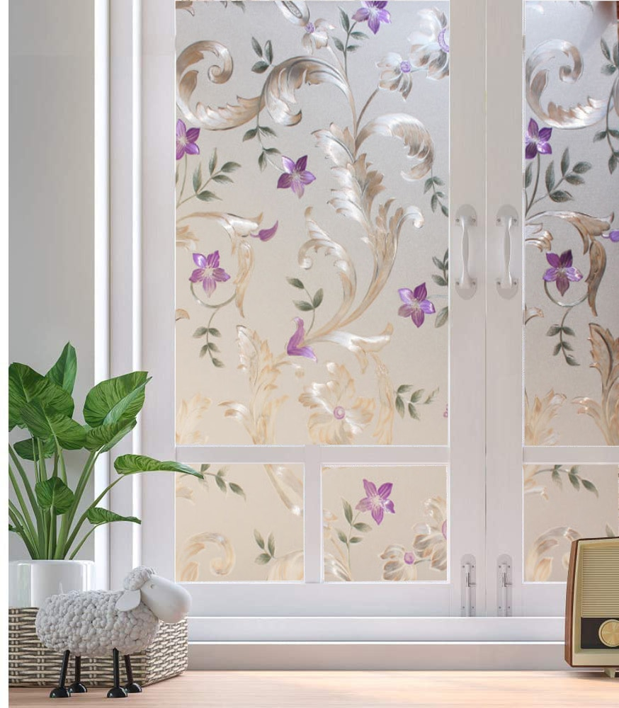 Película decorativa LUCKYYJ para ventana, película de privacidad para puerta, Película autoadhesiva de vidrio adhesivo estático, pegatinas para vidrieras Anti UV para ventanas