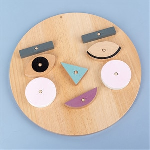 Children Fun Face-changing Expression Building Blocks Exercise Children's Observation Ability Wooden Jigsaw Puzzle Toys