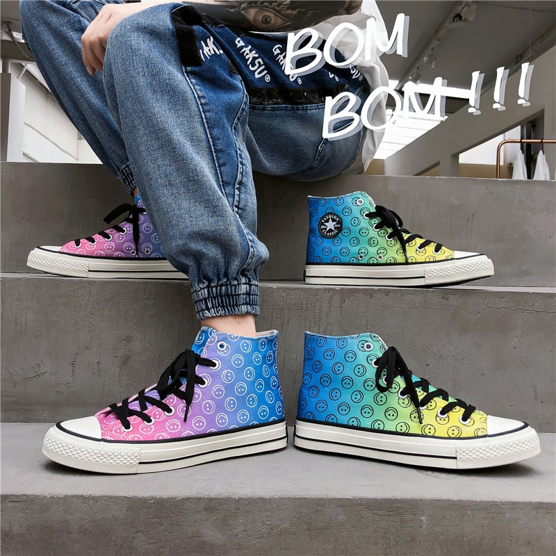 Moda cores pintura de lona dos homens sapatos de skate formadores respirável alta superior tênis de lona homens alpercatas zapatillas lona lona