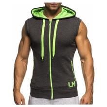 ฤดูร้อนผู้ชายเสื้อแขนกุดเพาะกายHoodie TopsออกกำลังกายSlimเสื้อกั๊กCamiseta Casual Hooded Sweatshirtเสื้อMY359