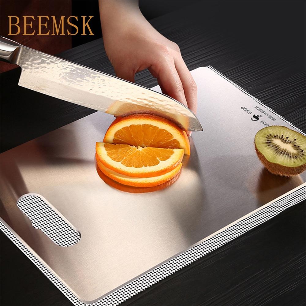 BEEMSK 304 stainless steel cutting board Sterile mildew proof chopping board Fruit cutting board Rectangular mini chopping board