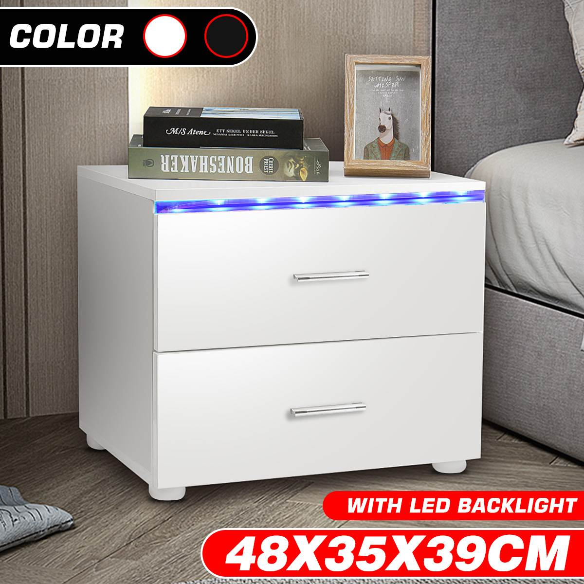 Multifunction Bedside Table High Gloss RGB LED Coffee Tables Modern Living Room Furniture Sofa side Table File Cabinet Holder