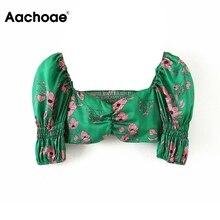 Aachoae 여성 빈티지 꽃 인쇄 자르기 탑 블라우스 2020 패션 퍼프 슬리브 스트레치 블라우스 셔츠 숙녀 V 넥 캐주얼 세련된상의