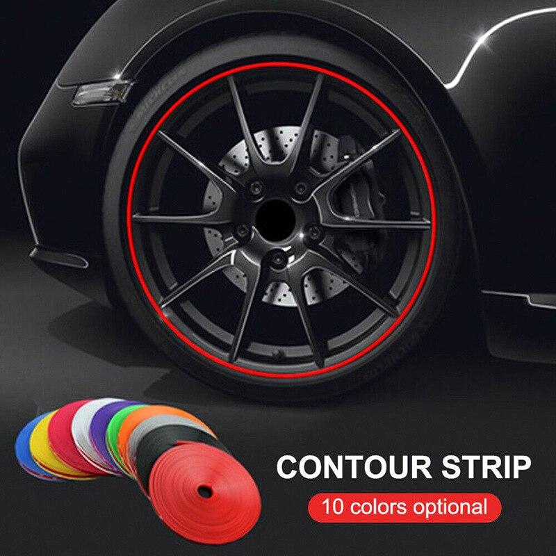 8 м/компл. рулон ободковых лезвий автомобильные цветные диски для колес протекторы Декоративная полоса защитная линия для шин резиновая Лит...