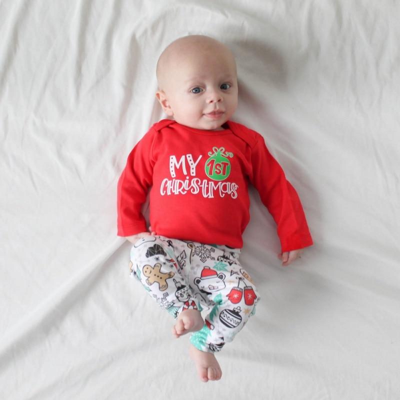 3 uds. Mamelucos de Navidad para recién nacidos + Pantalones para bebé niña ropa para niño  My First Christmas Cotton copo de nieve ropa estampada 0-24M