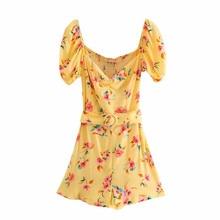 Chic dame jaune za imprimé fleuri mince été palysuit femmes 2020 mode manches courtes bouffantes élastique buste combinaison courte avec ceinture