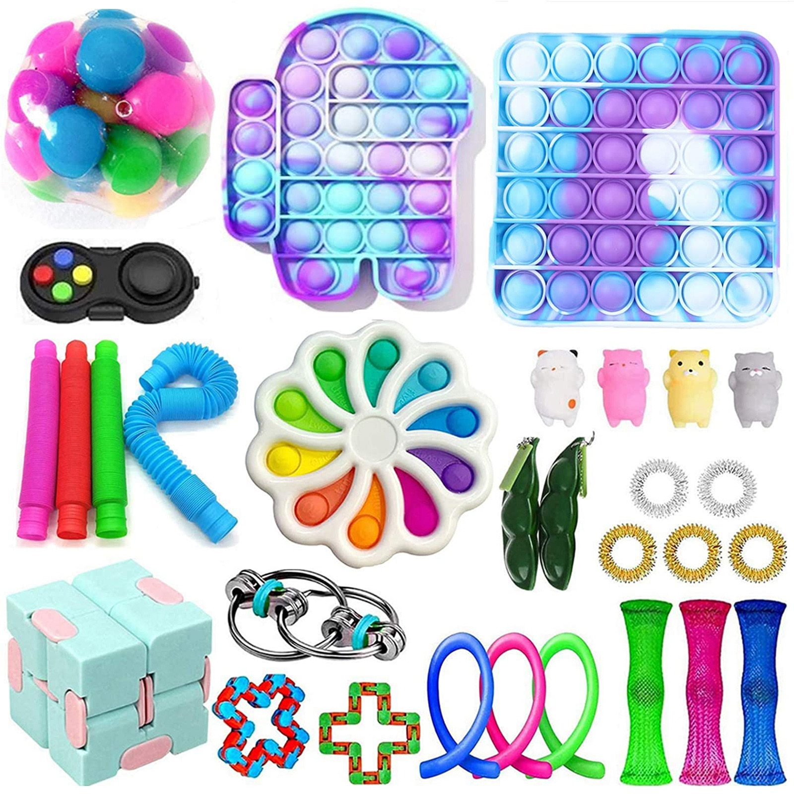 Stress Sensory Toy Set, Sensory Toys With Push Bubble For Children Adults Bubble Fidget Sensory Toy