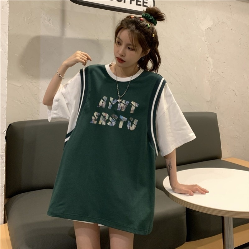 Women's Loose Fake Two Pieces Short-Sleeved T-shirt Harajuku Plus Size Summer Top Aesthetic Korean C