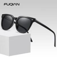 fuqian 2020 classic square polarized sunglasses men women brand designer rivet driving sun glasses fashion black eyeglasses