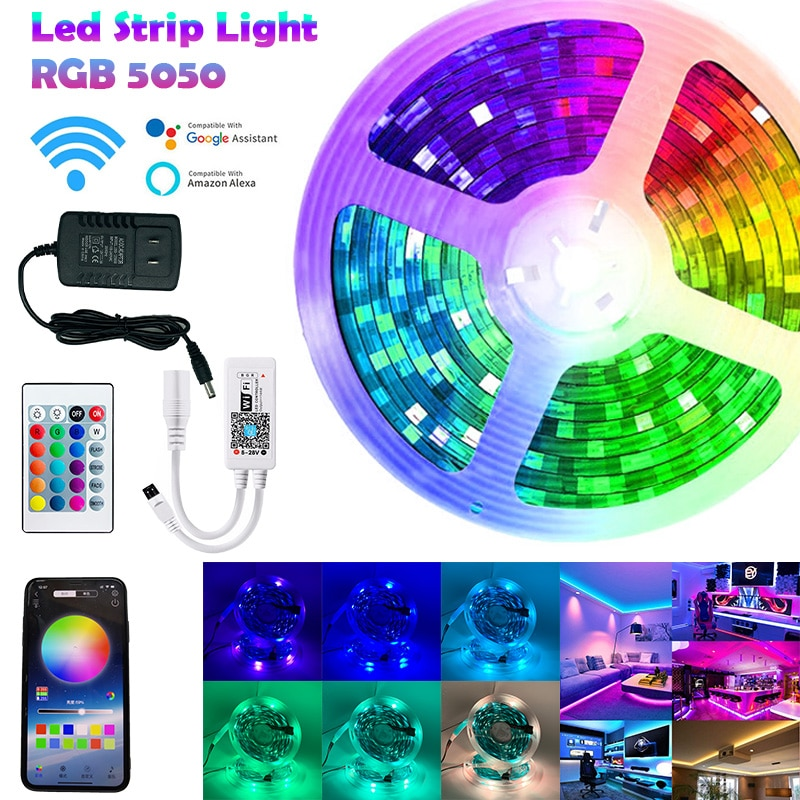 Led Strip Light RGB 5050 Luces Led Light Flexible Backlight Lamp Ribbon DC 12V SMD5050 5m 10m 15m 20
