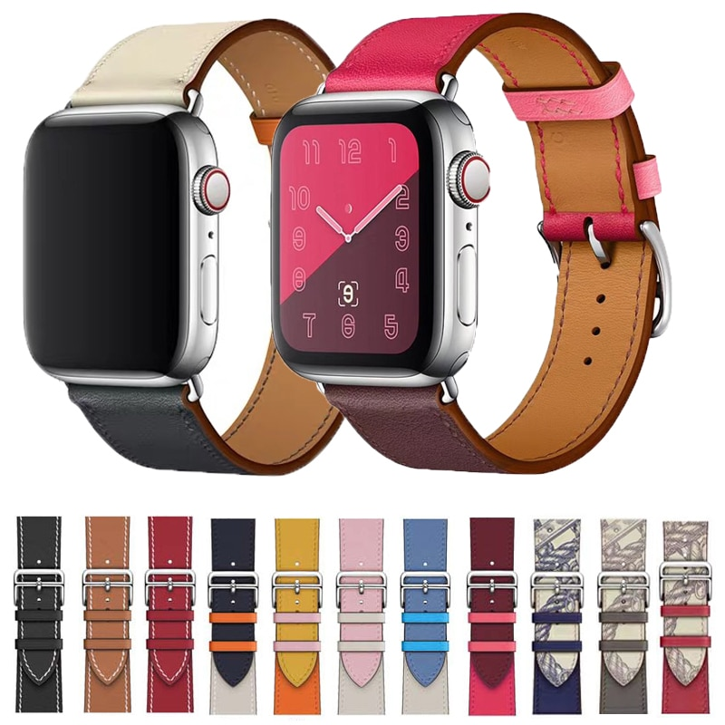 strap genuine leather bands for apple watch 38mm 42mm 40mm 44mm smart watches band for i watch series 5 4 3 2 1 women s bracelet Genuine Leather Strap for Apple Watch 40mm 38mm 44mm 42mm Band for Apple Watch Band Series SE 6 5 4 3 2 1