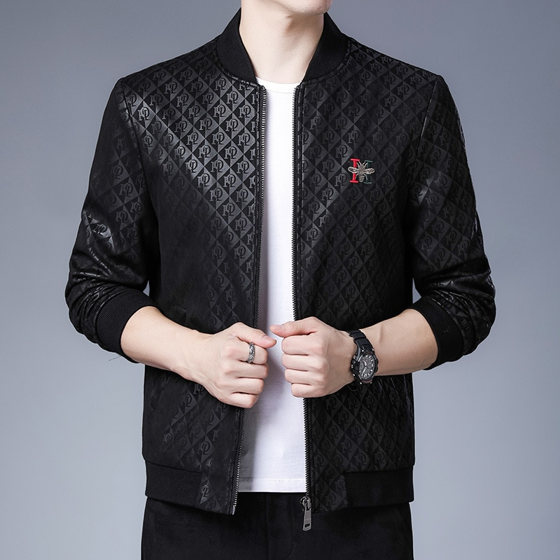 Winter casual zipper thickened men's stand collar jacket Korean loose jacket young and middle-aged trend Plush men's top