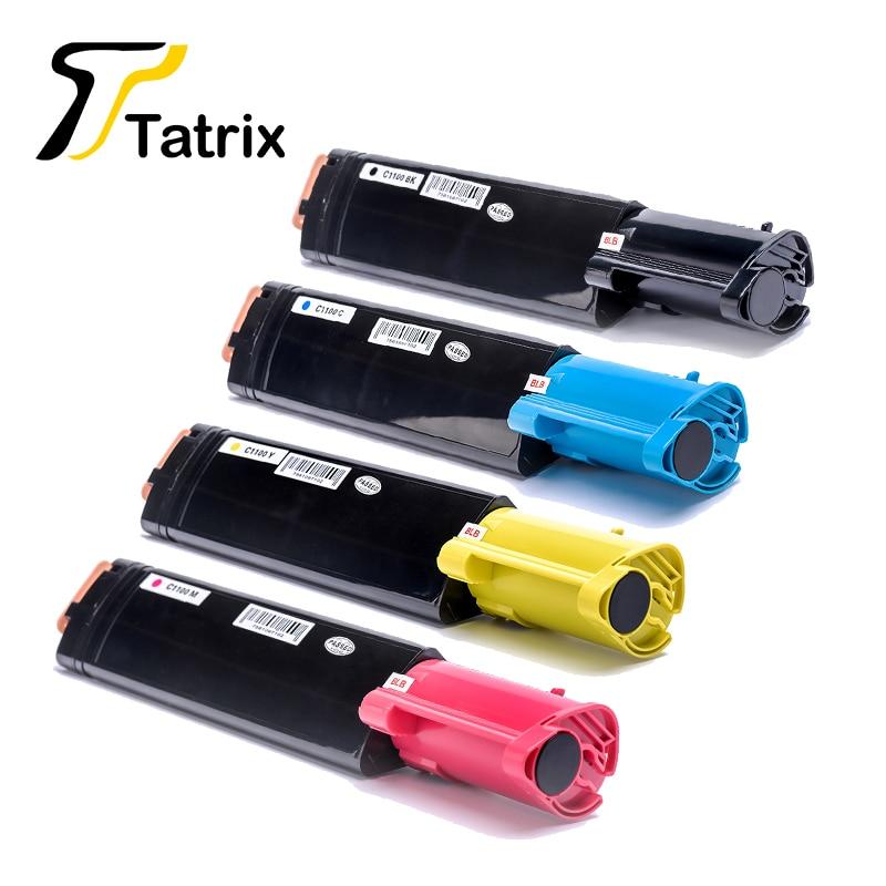 Tatrix novo c1100 bk/c/m/y cartucho de toner compatível para epson c1100/cx11 priner