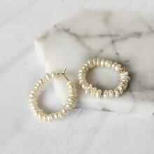 Boucles doreilles périsbox faites à la main à perles géométriques pour femmes boucles doreilles en perles deau douce naturelles uniques cerceaux bijoux Boho