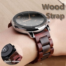 20mm 22mm Wood Watch band for huawei watch GT 2 / Galaxy 42 46mm Stainless Steel Strap Replacement B