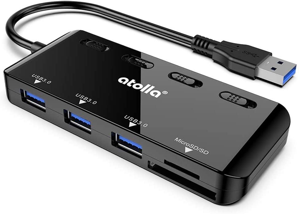 USB Hub SD Card Reader, Atolla USB 3.0 Hub with 3 USB Data Ports and SD/Micro SD card reader, Ultra Slim USB Splitter with