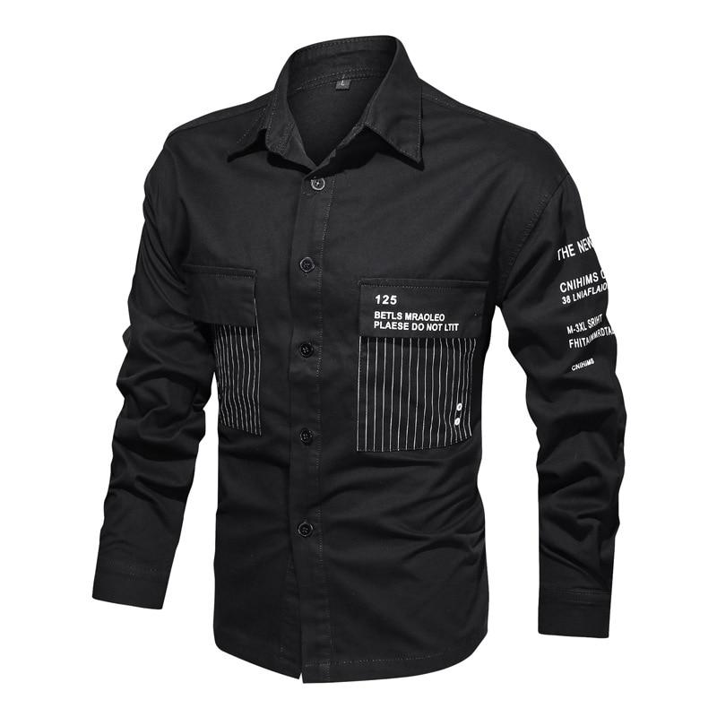 Мужская приталенная рубашка в стиле милитари, повседневная классическая рубашка-карго с пуговицами и надписью