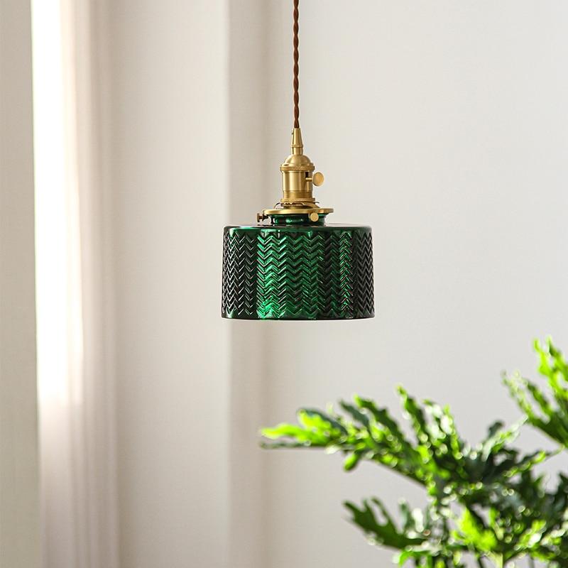 IWHD-مصباح معلق LED مصنوع من النحاس الأخضر على الطراز الاسكندنافي ، تصميم عتيق ، إضاءة داخلية مزخرفة ، مثالية لغرفة النوم أو غرفة المعيشة