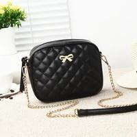 fashion new bowknot women messenger bag plaid pu leather shoulder bag high quality chain strap crossbody small women bag