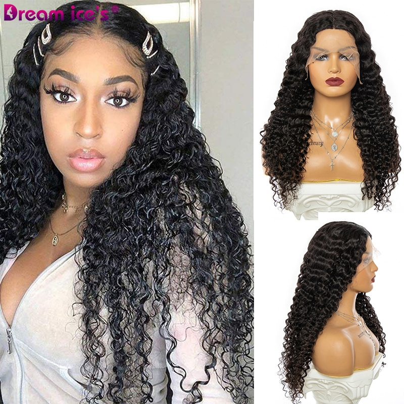 Kinky Curly Lace Front Wig T Part LongTransparent Lace Wigs 26 Inch Wavy 98% Human Hair Wig For Black Women Cosplay Dream Ice