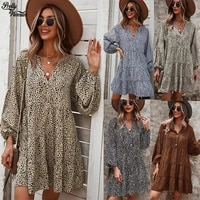 spring and autumn leopard print casual v neck short mini dress women 2021 new fashion printing loose lantern sleeve women dress
