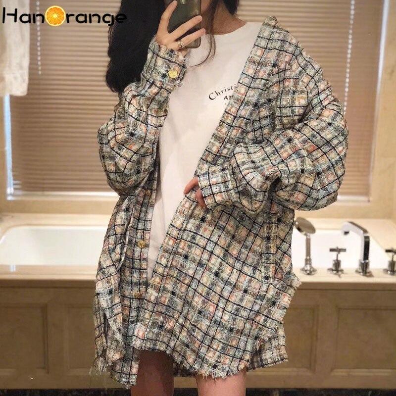 HanOrange Bf نمط سترة المرأة 2021 الخريف الشتاء قميص تويد منقوشة منتصف طول الشارع الشهير فضفاضة كسول