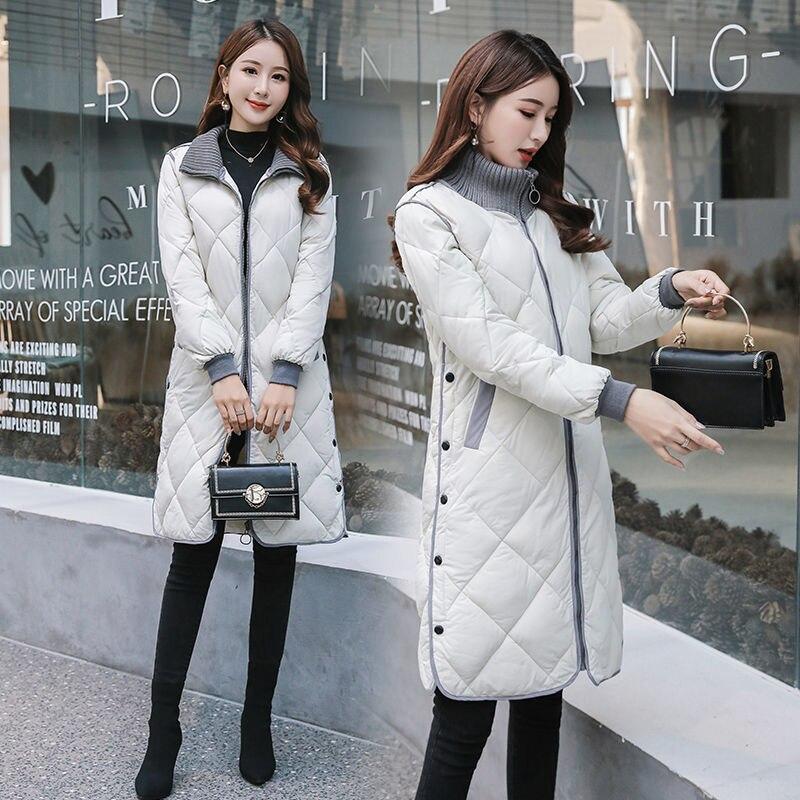 Зимние корейские женские парки, теплая свободная зимняя верхняя одежда с воротником-стойкой, зимние Пуховые Хлопковые женские длинные паль...
