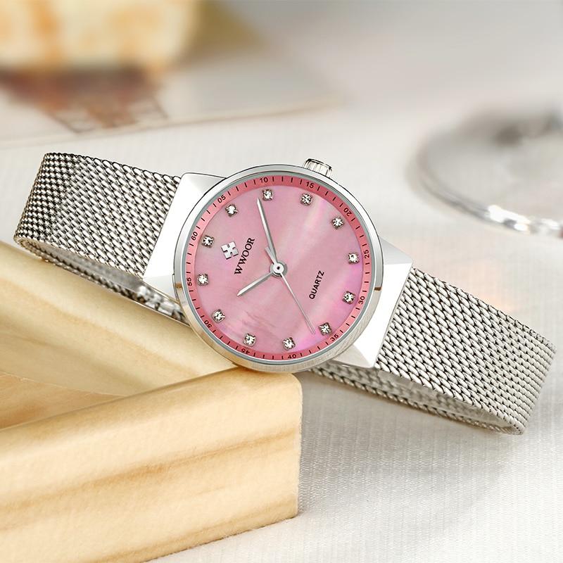 WWOOR Famous Brand Ladies Pink Watches Women Luxury Rhinestone Dress Wrist Watch Women Fashion Simple Quartz Watch montre femme enlarge