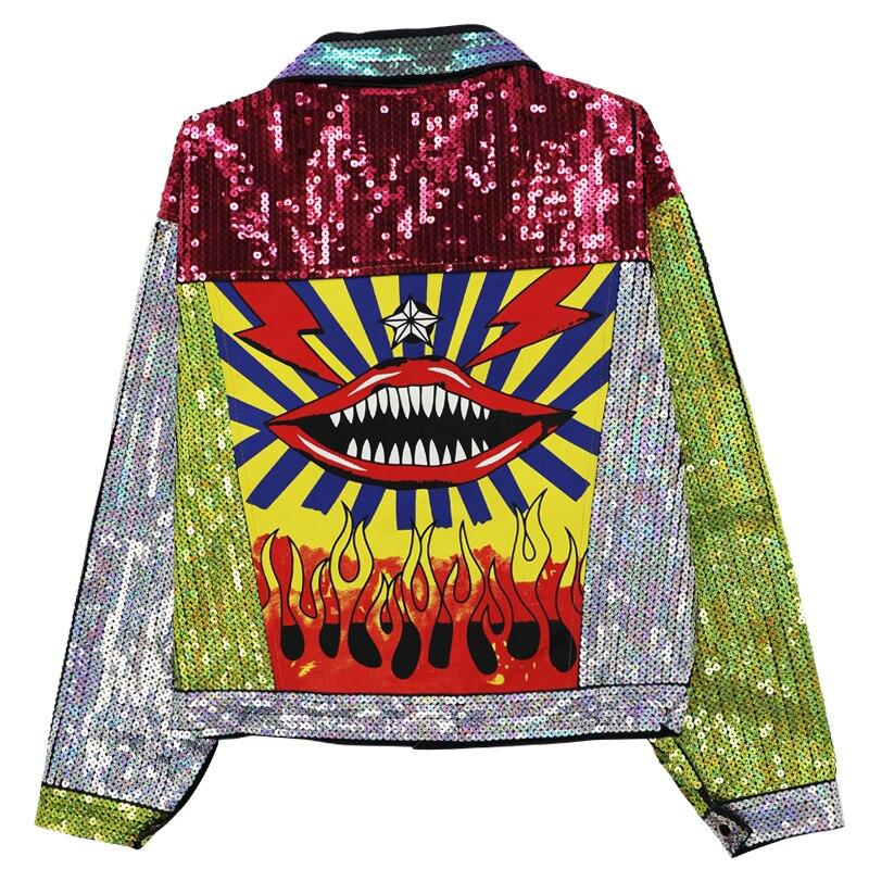 Trabalho pesado lantejoulas denim jaqueta cor bloco harajuku hip hop jeans bombardeiro jaquetas lábios vermelhos imprimir topo manga longa feminino outwear