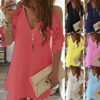 vintage sexy fashion dress women summer lace solid color dress casual party dress v neck sling sundress plus size vestidos