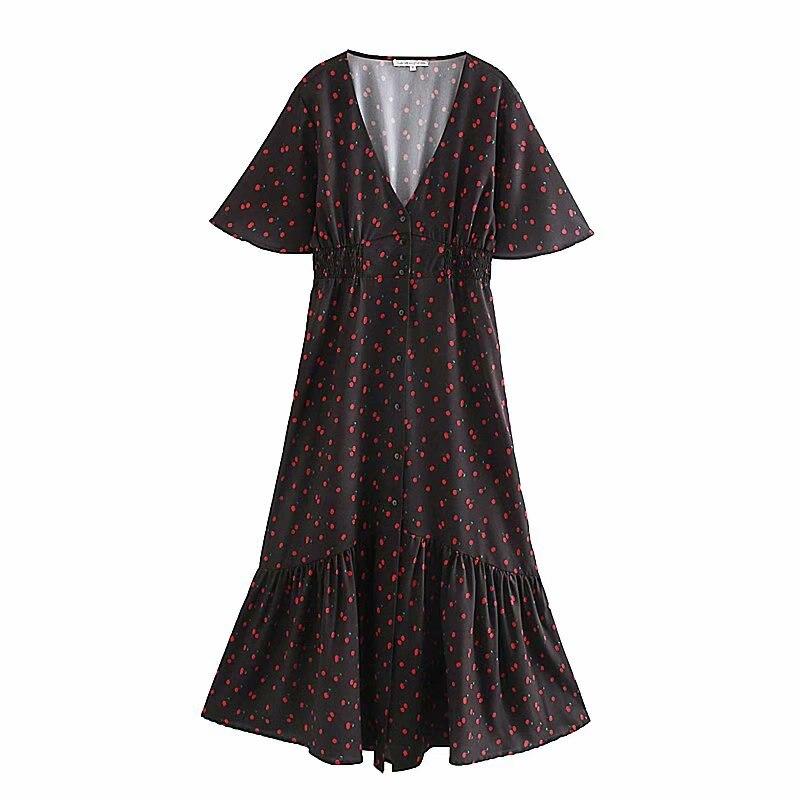 Nuevo vestido elegante francés con cuello en v y estampado de cereza para mujer, vestido de primavera con manga de mariposa para mujer, vestidos midi con volantes elegante DS3251
