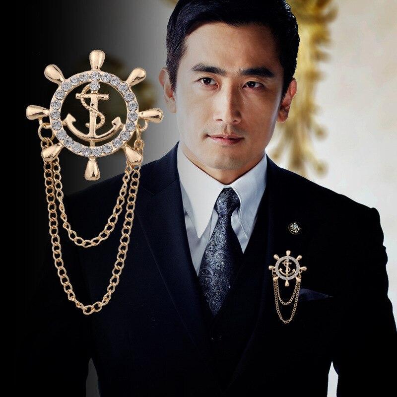 Broche de ancla azul marino a la moda con ramillete de timón de circón, accesorios de traje para hombre de gama alta