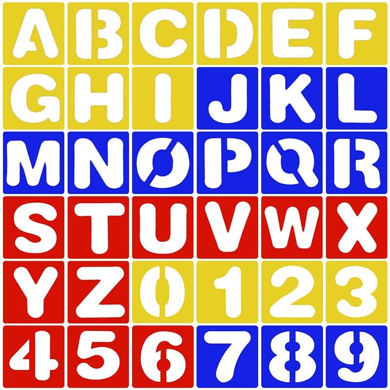 1 Set alphabet Number drawing template Ruler Plantillas Para Dibujo School DIY Drawing Tool Stationery Papelaria Gift