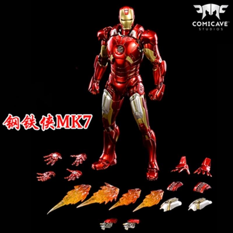 En Comicave 1/12 aleación iron man mk7 luminoso super movible cs muñeco soldado modo dividido figura modelo muñecas figuritas