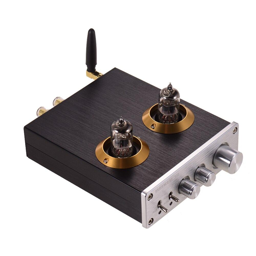 AMPLIFICADOR DE POTENCIA de Audio Digital HiFi Mini profesional amplificador estéreo con doble 6J2 tubos de vacío BT AUX entradas agudos controles de graves