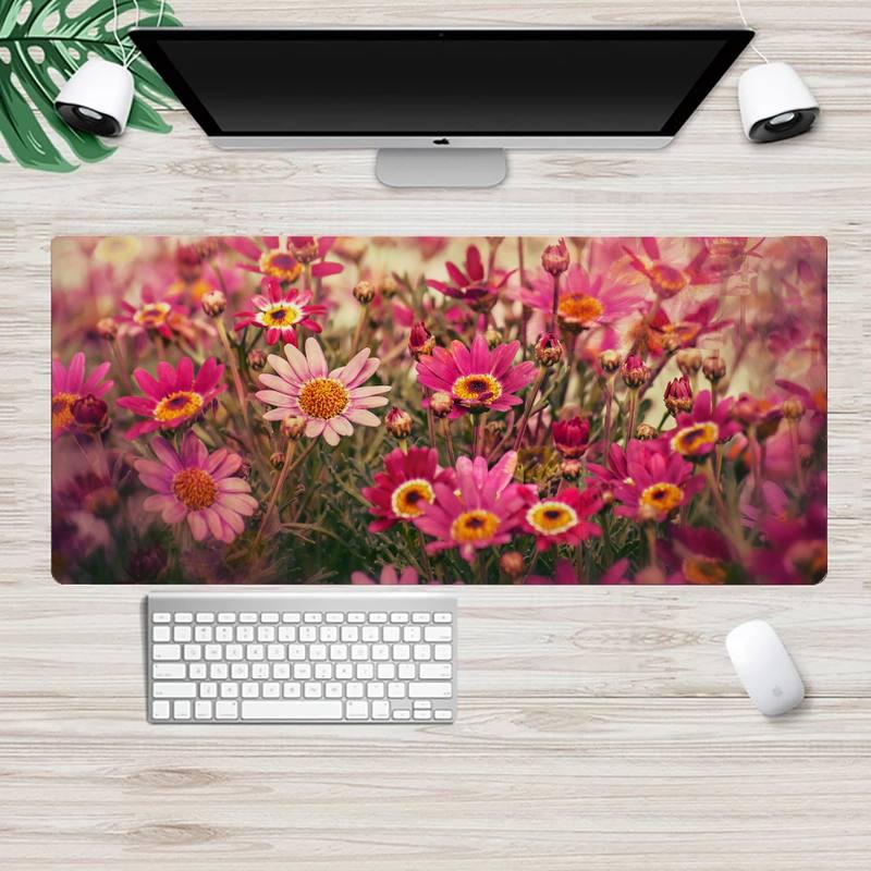 Summer flowers Keyboards Mat Rubber Gaming mousepad Desk Mat Animation XL Large Gamer Keyboard PC Desk Mat Mousepads