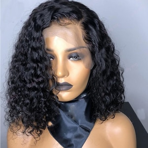 Preplucked Kinky Curly Natural Black Color Short Lace Front Hair Wig Synthetic Wigs With Baby Hair Heat Resistant Fiber Wig