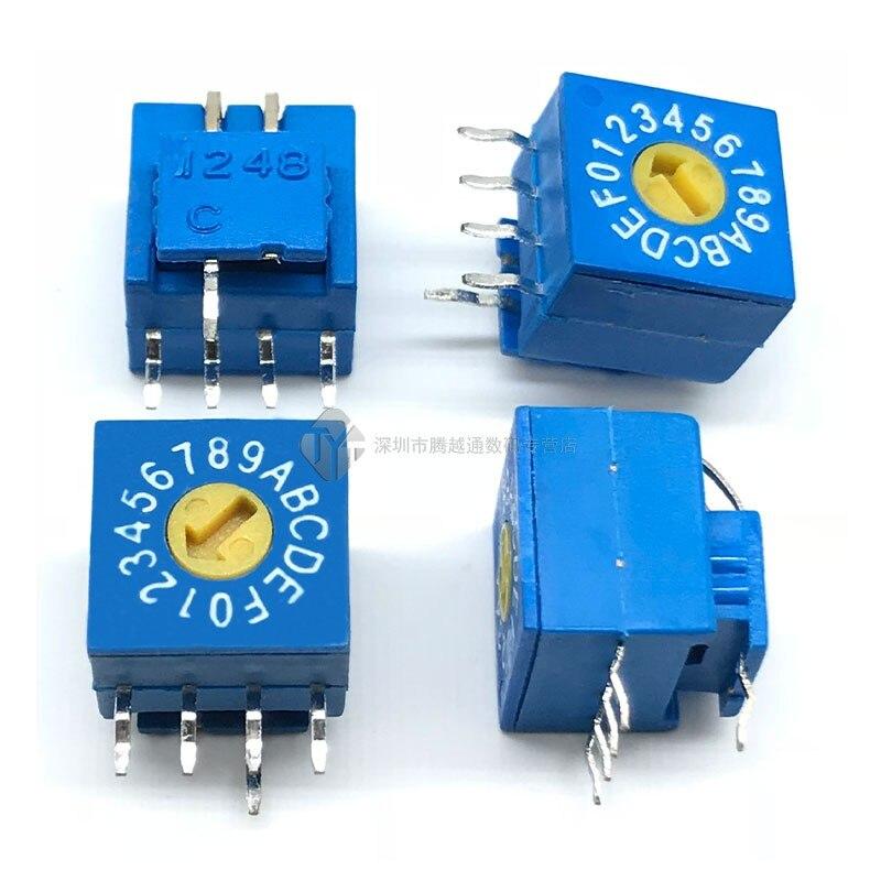 0-F interruptor de codificación giratorio 8-bit 10-poco 16-poco vertical de conmutación interruptor de dial positivo Código 4  1 Paso 5,08 MM