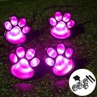 solar cat animal paw print lights 4pcs led solar lamps outdoors street lamp led path decorative lighting footprints lamp