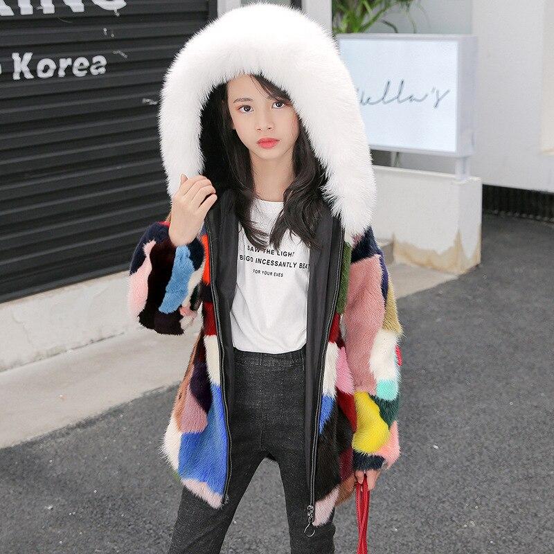Girls Natural Fur Coat Kids 2021 New Hooded Thickened Coat Winter Fur Coat Collar Patchwork Color Mink  Jacket Boy Warm Overcoat