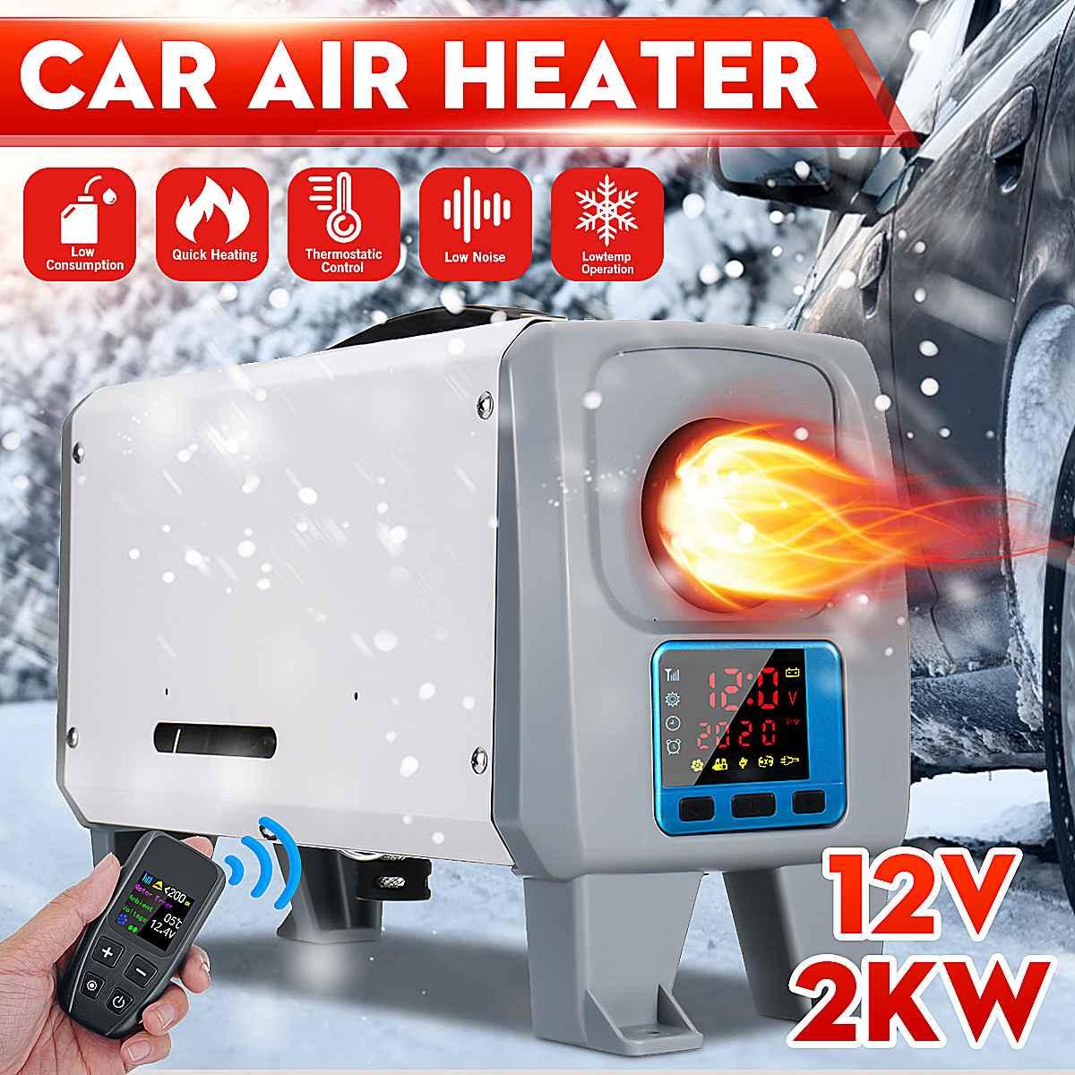 Calentador de coche 2KW 12 V, ventilador de calentador de aire diésel, nuevo interruptor negro LCD + máquina integrada de control remoto para furgoneta, barco, autobús RV