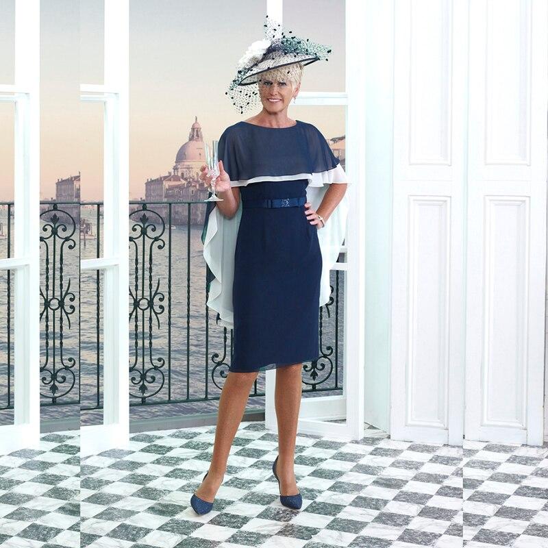 فستان أم العروس باللون الأزرق الداكن مع شال بطول الركبة ، فستان زفاف ، رقبة قارب ، حزام فيونكة ، مجموعة جديدة 2021
