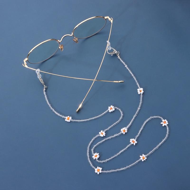 Прочный ремень солнечных очков вокруг шеи цепочки для очков и изображениями красочного цветка бусина очки цепь функция