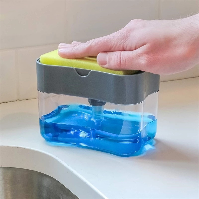 Dispensador con bomba de jabón para cocina y baño con soporte de esponja, dispensador de líquido para limpieza, contenedor, prensa Manual, organizador de jabón