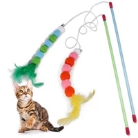 wool ball toy for cat funny cat stick toy interactive toy soft feather and bell beading colorful feather cat accessories cat toy