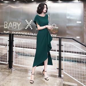 Evening Dresses O-Neck Short Sleeves Elegant Asymmetrical Tea-length Simple Ruffles Plus size Customized Woman Formal Dress C133