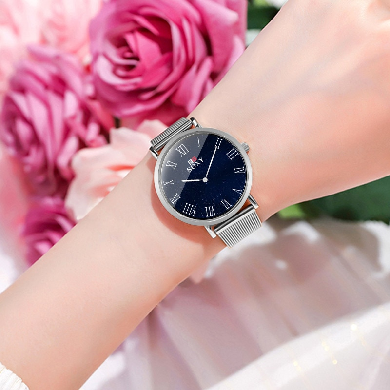 Luxury Wrist Watches Casual Romantic Starry Sky Stainless Steel Mesh Bracelet Watches For Women Crystal Quartz Wristwatches enlarge