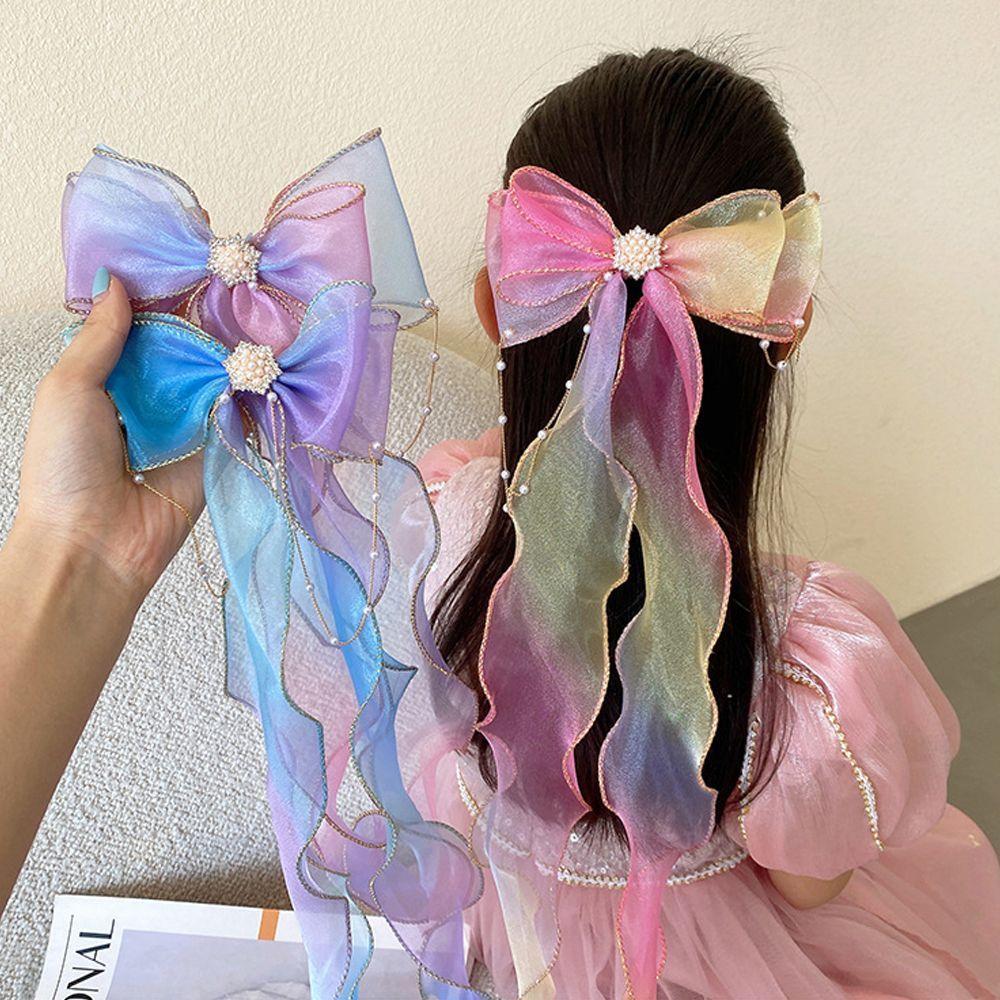 Детские головные уборы, милые блестящие заколки для волос с бантом из пряжи, Длинные заколки для волос для девочек, детские аксессуары для в...