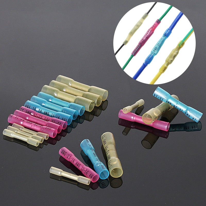 20/30/50Pcs Heat Shrink Butt Wire Connectors AWG 16-14 1.5-2.5mm2 Blue Waterproof Insulated Automobi